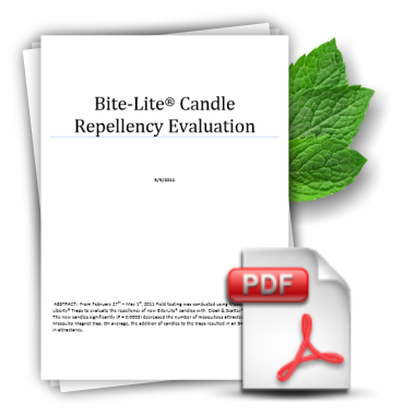 Candle Repellency Evaluation relating to the effectiveness of our natural mosquito repellent formula.