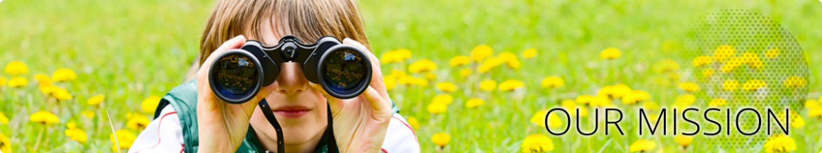 Little boy using binoculars to look for mosquitoes and other bugs in nature.